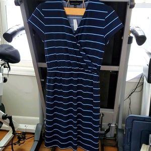 Nwt Banana Republic faux wrap dress blue stripe S